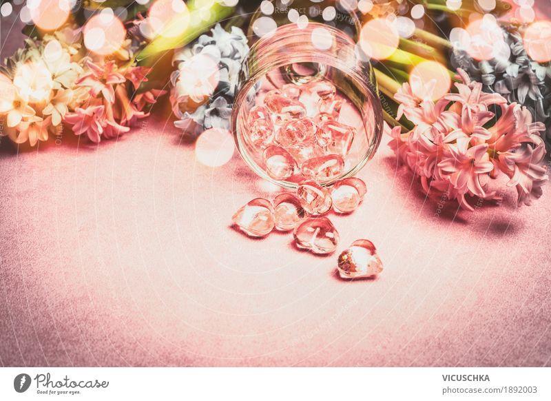 Frühlingsblumen mit Bokeh und Herzen Dekoration elegant Stil Dekoration & Verzierung Feste & Feiern Valentinstag Muttertag Geburtstag Natur Pflanze Blumenstrauß