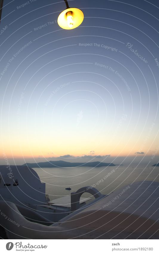 Moonlight Natur Wasser Wolkenloser Himmel Sonnenaufgang Sonnenuntergang Schönes Wetter Hügel Felsen Küste Meer Mittelmeer Ägäis Insel Santorin Kykladen Caldera