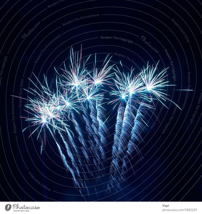 Buntes Feuerwerk am schwarzen Himmel blau Weihnachten & Advent Farbe weiß Freude dunkel Kunst Freiheit Feste & Feiern Party hell neu Show Veranstaltung