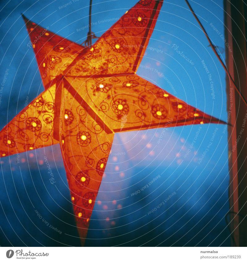 Sternstunde blau Weihnachten & Advent Erholung Freude Umwelt Kunst Lampe hell Häusliches Leben leuchten Dekoration & Verzierung gold Fröhlichkeit ästhetisch