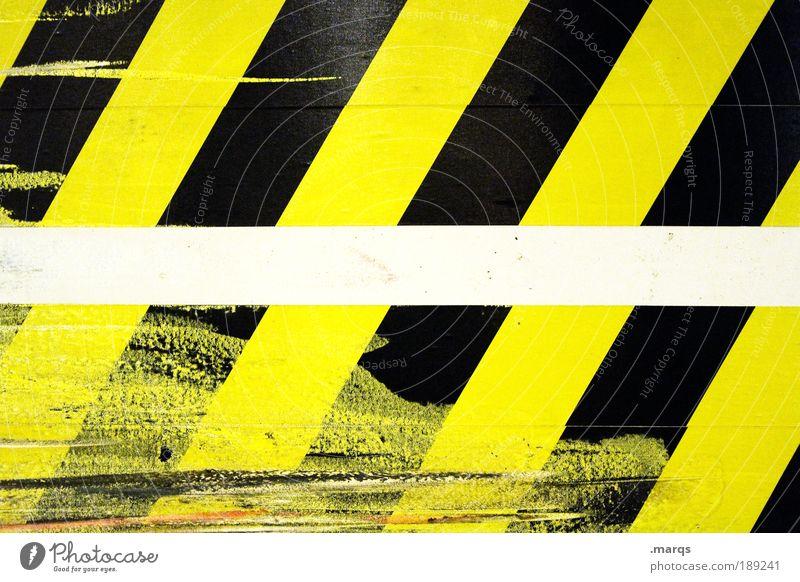 Kratzer Stil Design Zeichen Schilder & Markierungen Hinweisschild Warnschild Verkehrszeichen Linie Streifen leuchten Coolness einfach trendy trashig gelb
