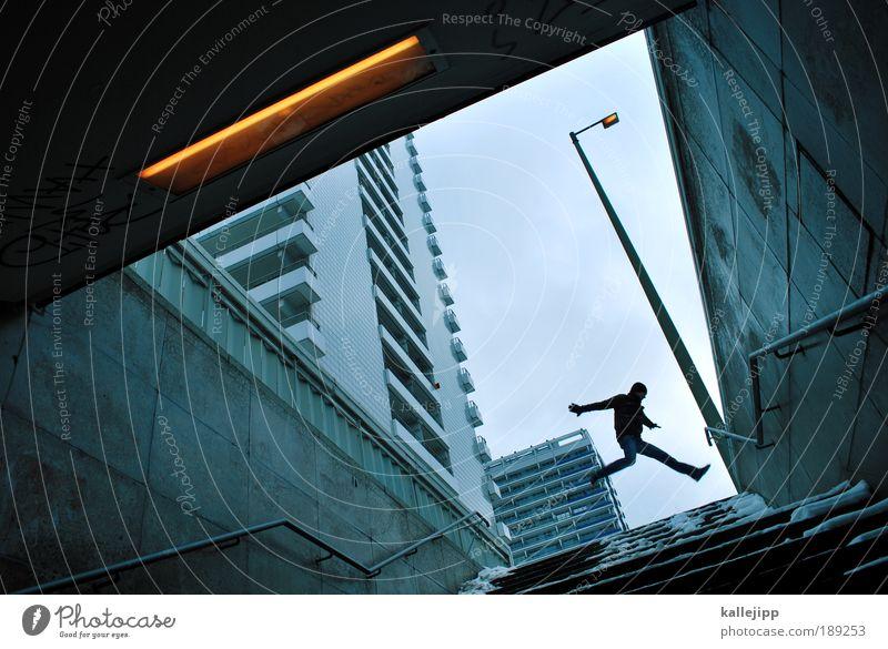 speakers' corner Mensch Mann Stadt Erwachsene Sport Berlin springen Treppe Geschwindigkeit Hochhaus Zukunft planen Dach Ecke Spitze Geländer