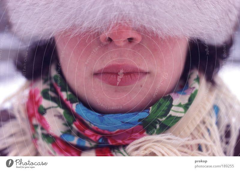 calt isses im winter Lifestyle elegant Stil Mensch feminin Junge Frau Jugendliche Erwachsene Kopf Haare & Frisuren Nase Mund Lippen Winter Klima Mode Bekleidung