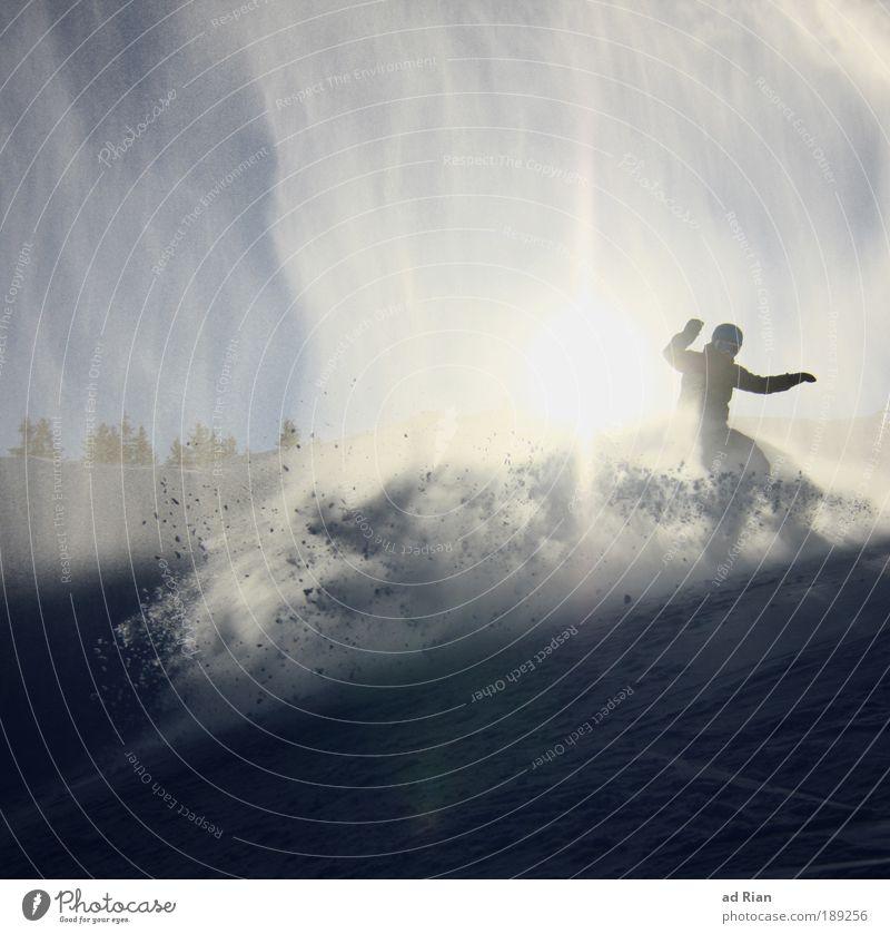Walzer Mensch Wasser Sonne Freude Winter Berge u. Gebirge Umwelt Bewegung Schnee Stil Sport Schneefall Freizeit & Hobby Eis leuchten frei