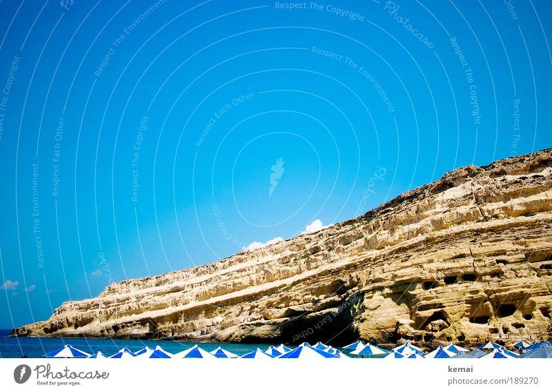 Blau-weiße Sommergeschichte sonnen Ferien & Urlaub & Reisen Tourismus Ausflug Sommerurlaub Sonne Sonnenbad Strand Meer Berge u. Gebirge Höhle Höhlenwohnung
