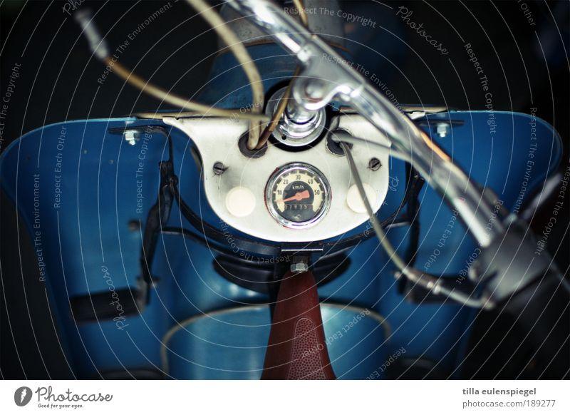 Spritztour gefällig? blau Design retro authentisch einzigartig KFZ historisch Fahrzeug Kleinmotorrad Wert Oldtimer Qualität Messinstrument Motorrad Lenker
