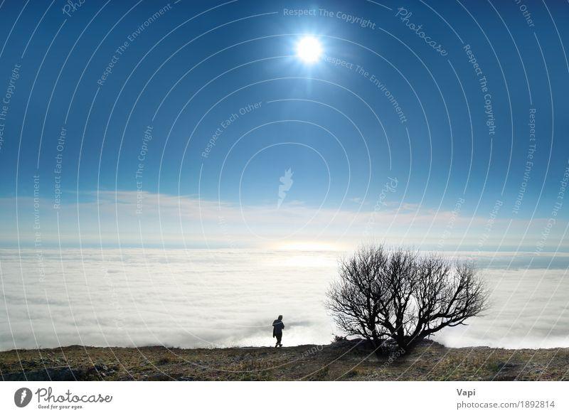 Mensch Himmel Natur Ferien & Urlaub & Reisen Jugendliche Mann Himmel (Jenseits) blau Farbe weiß Sonne Baum Junger Mann Meer Landschaft Erholung