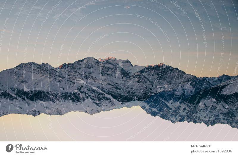 Bergwelt III Natur Wolkenloser Himmel Herbst Winter Schnee Schneefall Felsen Alpen Berge u. Gebirge Gipfel Schneebedeckte Gipfel Gletscher Stil Symmetrie