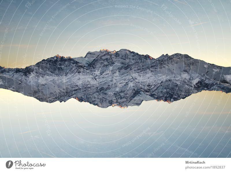 Bergwelt Natur Landschaft ruhig Winter Berge u. Gebirge Schnee Felsen Zufriedenheit Schönes Wetter Gipfel Alpen Schneebedeckte Gipfel Wolkenloser Himmel Doppelbelichtung Kanton Wallis Verbier