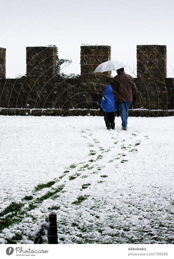Mensch Mann weiß Winter Freude Wolken Erwachsene Schnee Glück Park Zusammensein Rücken Nebel maskulin Fröhlichkeit beobachten