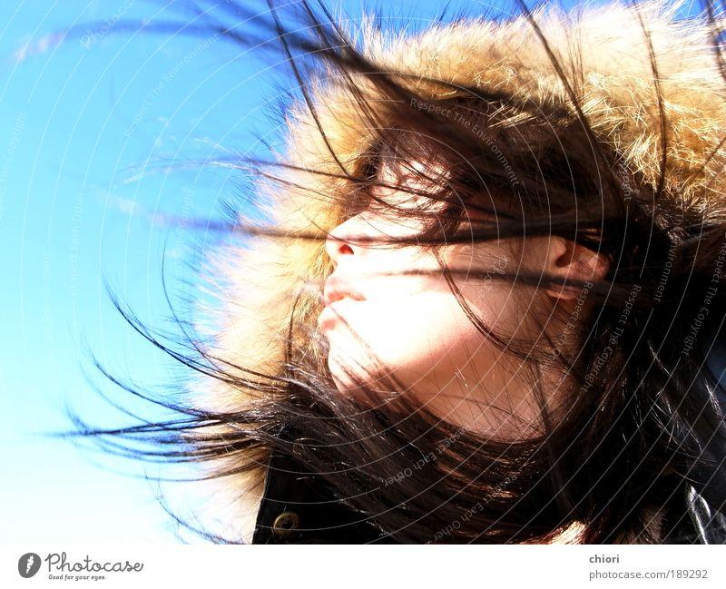 Himmel Jugendliche blau Freude Erwachsene Gesicht Leben Kopf Glück Stil Mensch Kunst gehen fliegen Fliege Ausflug