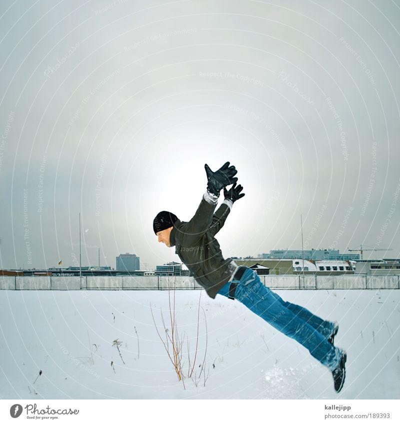 eisvogel Mensch Mann Winter Wolken Haus Erwachsene Leben Schnee Spielen träumen Vogel Eis fliegen Freizeit & Hobby maskulin Flugzeug