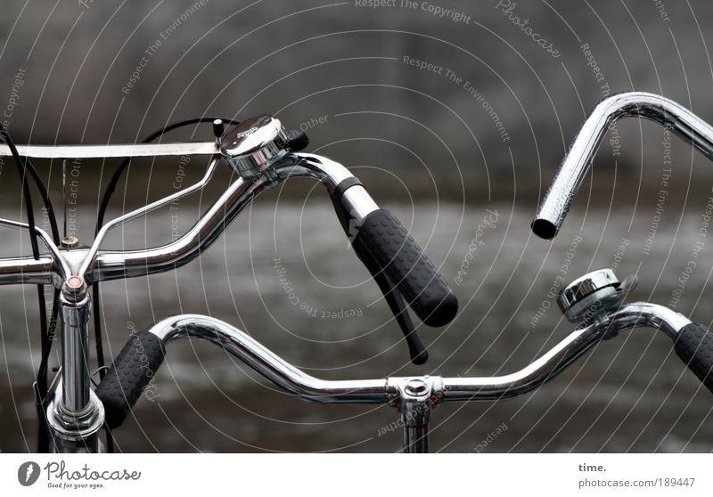 Grachtensprinter Fahrrad Rad Metall Metallwaren Fahrradrahmen Außenaufnahme Chrom schwarz Fahrradlenker Lenker Steuerelemente parken stehen Winter grau kalt
