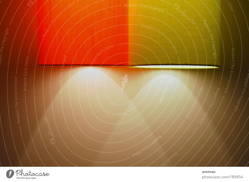 Energiesparlampe rot gelb Lampe Wohnung Design Stoff leuchten abstrakt Lampenschirm Lichtkegel Energie sparen