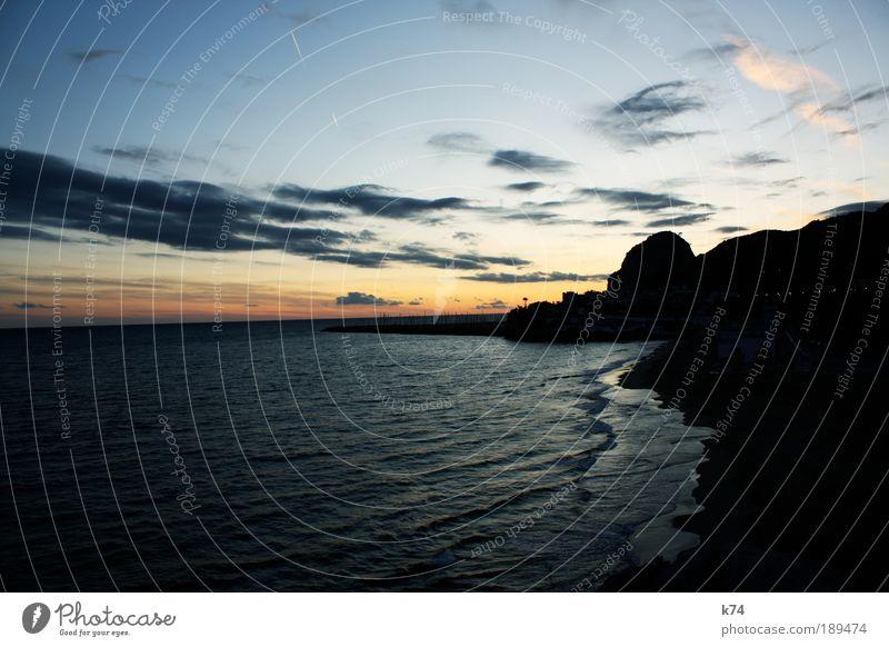 Aiguadolç Umwelt Landschaft Wasser Himmel Wolken Sonne Sonnenaufgang Sonnenuntergang Sonnenlicht Küste Strand Bucht Meer frei Ferne Farbfoto Außenaufnahme