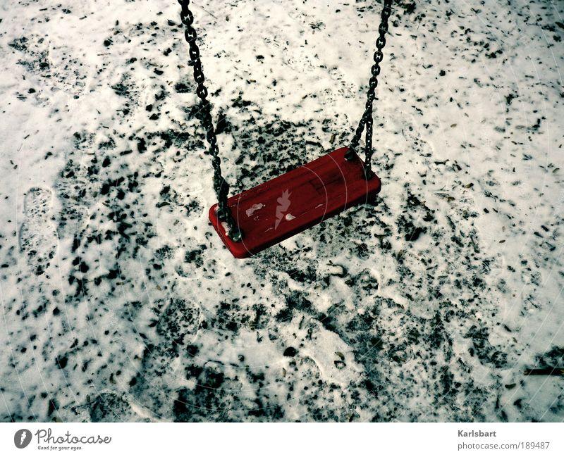 verlassen. Natur rot Winter Freude ruhig Einsamkeit Wiese Leben Schnee Spielen Bewegung Garten Traurigkeit Park Klima Lifestyle