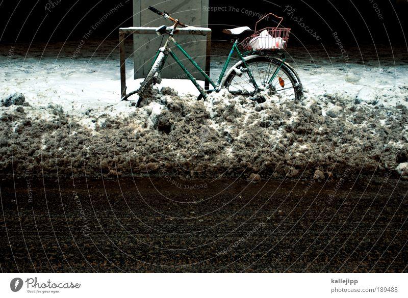 tauwetter Winter Umwelt Straße kalt Schnee Wege & Pfade Eis Fahrrad Freizeit & Hobby Klima Verkehr Frost Lifestyle Verkehrswege Autofahren Wetter