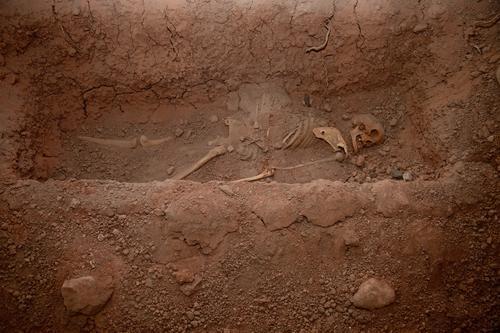 Skelett im Grab Mensch Tod Leben Kopf Angst Trauer gruselig Krieg Teufel Friedhof Leiche Anatomie Paddel Südamerika
