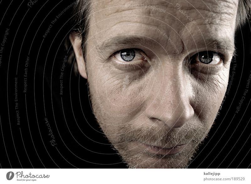 instinct Mensch maskulin Mann Erwachsene Leben Haut Kopf Haare & Frisuren Gesicht Auge Ohr Nase Mund Lippen Bart 1 30-45 Jahre Dreitagebart atmen Blick schwarz
