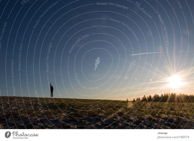 Begrüßung Mensch Sonne Freude Einsamkeit Ferne Leben Landschaft Freiheit springen Stil Eis Zufriedenheit Feld Erde Ausflug Tourismus