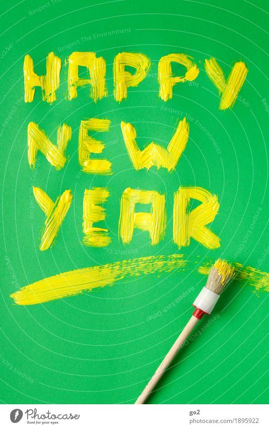 Happy New Year Freude Glück Feste & Feiern Silvester u. Neujahr Farben und Lacke Pinsel Schriftzeichen ästhetisch Fröhlichkeit gelb grün Lebensfreude Vorfreude