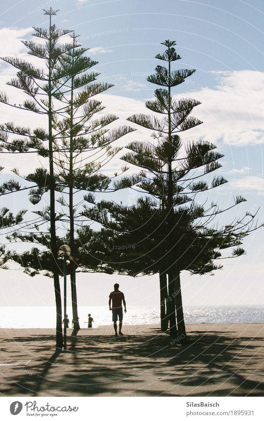 Strandtag Ferien & Urlaub & Reisen Mann Sommer Sonne Meer Erholung Freude Ferne Erwachsene Leben Lifestyle Küste Freiheit Stimmung Tourismus