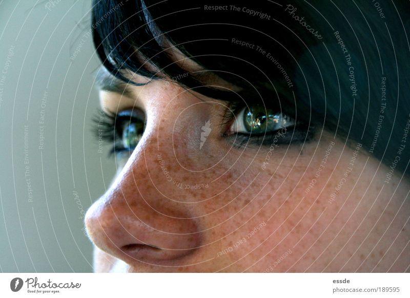 jade Jugendliche schön grün Frau Gesicht Auge Mensch feminin träumen Denken Zufriedenheit Haut Erwachsene Nase Ziel Reflexion & Spiegelung