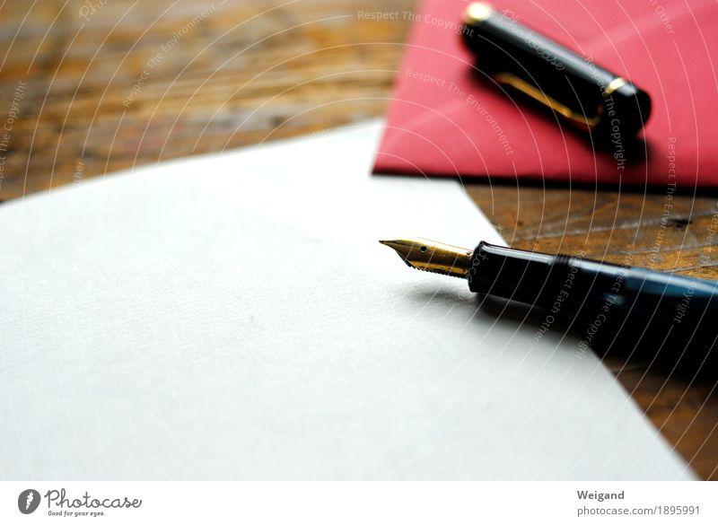 Weißraum ruhig Freundschaft gold Geburtstag Tisch Papier Trauer schreiben Kontakt Vertrauen nachhaltig Brief Schreibstift Zettel Schreibwaren Gruß