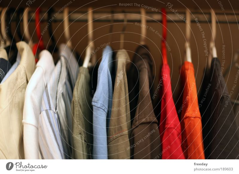 ::: Du dünnes Hemd! ::: Kleiderschrank Schrank Bekleidung Aufgängen aufräumen Ordnung Kleiderbügel anziehen Design Einzelhandel Farbig Out T-Shirt Kombination