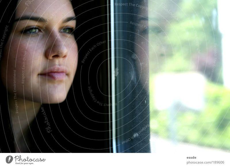 jaja. Ausflug feminin Kopf Gesicht Auge Nase Mund 18-30 Jahre Jugendliche Erwachsene Schönes Wetter Bahnfahren Personenzug schwarzhaarig langhaarig Glas