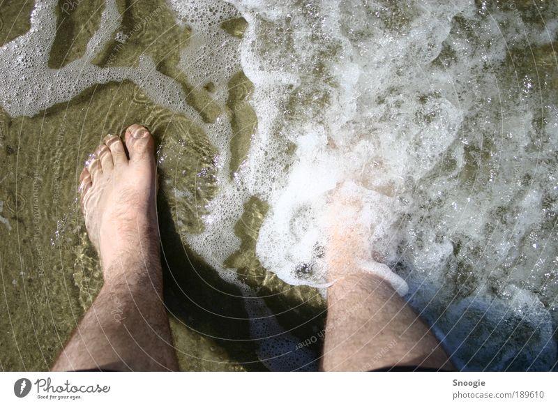 Endlich Urlaub Mensch Wasser Ferien & Urlaub & Reisen Meer Sommer Strand Freude ruhig Erwachsene Glück Beine Stimmung Fuß braun gehen maskulin