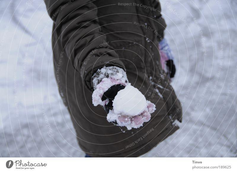 Auf dem Schneeballschlachtfeld 1 Mensch Umwelt Urelemente Winter Klima Wetter Eis Frost Jacke Mantel kalt Freude Handschuhe festhalten zeigen Kugel Spielen
