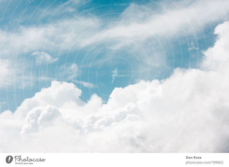 Schaumparty Himmel schön Sommer Wolken Textfreiraum links Erholung Freiheit Umwelt Wärme Luft hell Wetter Zufriedenheit Nebel Energie Klima