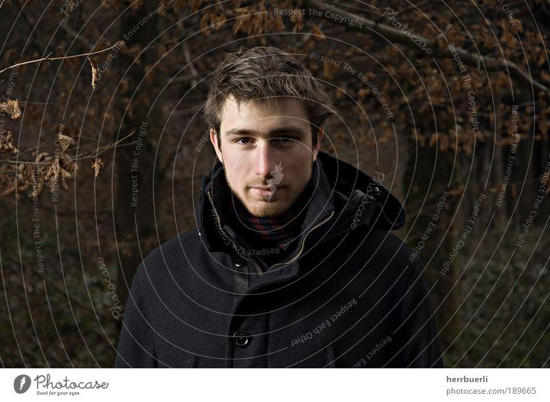 Waldportrait Mensch Mann Natur Jugendliche Winter Gesicht Auge Stil Haare & Frisuren Kopf Zufriedenheit braun Haut Erwachsene
