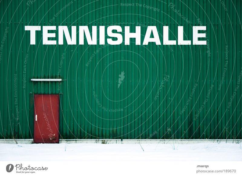 Hallentennis Freizeit & Hobby Spielen Sport Ballsport Sportveranstaltung Tennis Sportstätten Gebäude Mauer Wand Fassade Tür Eingangstür Schriftzeichen trendy