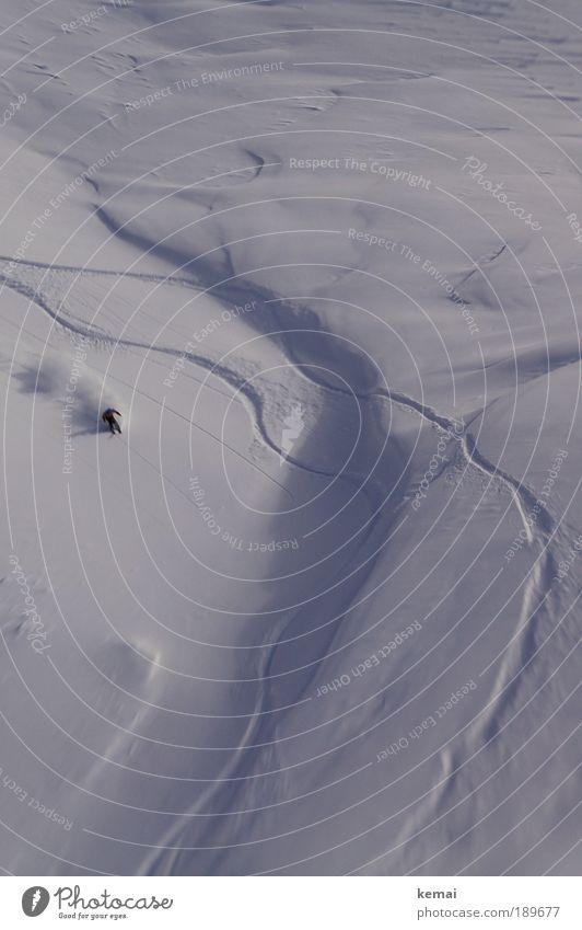 Die dritte Spur Mensch weiß Landschaft Freude Winter schwarz kalt Berge u. Gebirge Schnee maskulin wild einzigartig Schönes Wetter fahren neu Alpen
