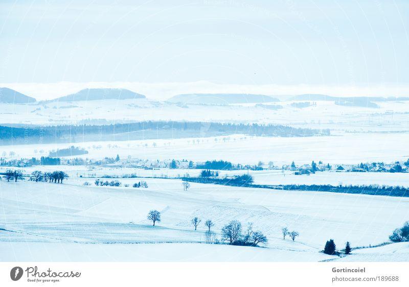 Kalte Aussicht Winterurlaub Landschaft Himmel Wolkenloser Himmel Horizont Nebel Eis Frost Schnee Baum Feld Hügel Berge u. Gebirge Gipfel Schwarzwald Deutschland