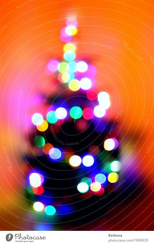 Abstract Christmas tree bokeh image. Weihnachten & Advent blau grün schön rot Freude gelb Innenarchitektur Kunst Feste & Feiern Party orange rosa Dekoration & Verzierung Warmherzigkeit Zeichen