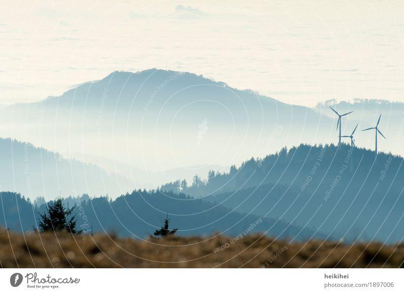 Land unter ... Landschaft Himmel Herbst Winter Nebel Baum Gras Wiese Wald Berge u. Gebirge Kandel blau braun grau weiß Glück Einsamkeit Erholung kalt Stimmung