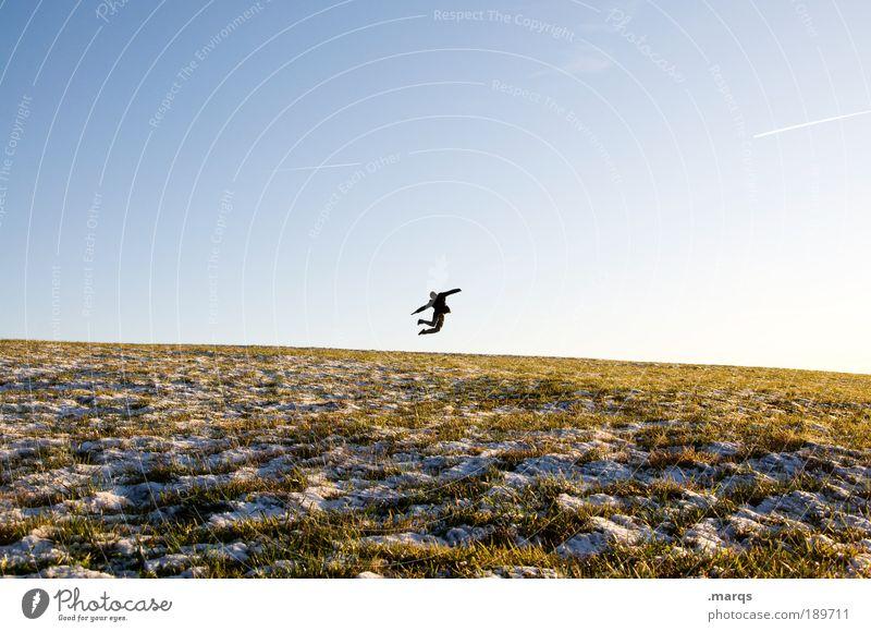 Jumpers Knee Mensch Himmel Jugendliche Freude Erwachsene Ferne Landschaft Leben Wiese Freiheit Glück springen Feste & Feiern Gesundheit Zufriedenheit