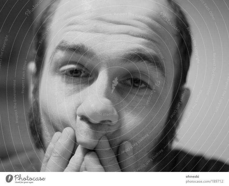 Mitski maskulin Mann Erwachsene Kopf Haare & Frisuren Gesicht Auge Nase Mund Lippen Bart Hand Finger 30-45 Jahre Traurigkeit Sorge Unlust Zukunftsangst Unglaube