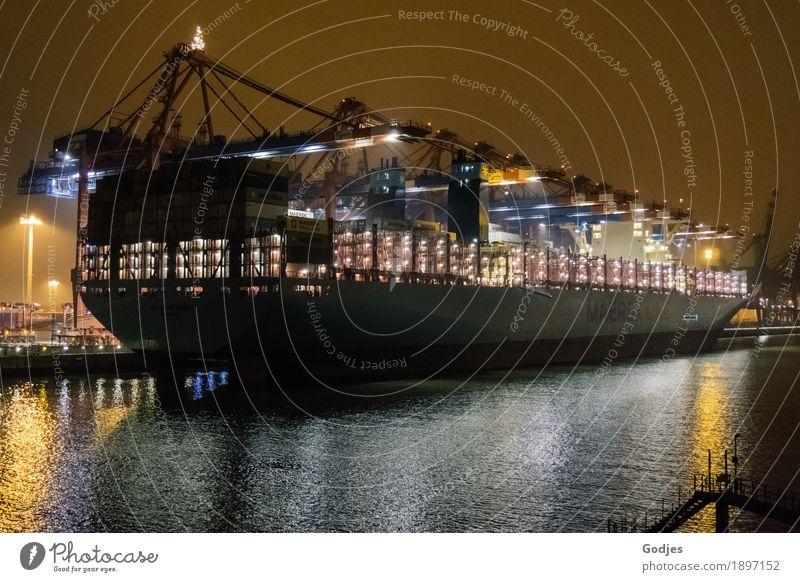 Containerschiff im Hafen Hamburg am Containerterminal Landschaft Winter Küste Seeufer Fluss Stadt Hauptstadt Hafenstadt Menschenleer Verkehrsmittel