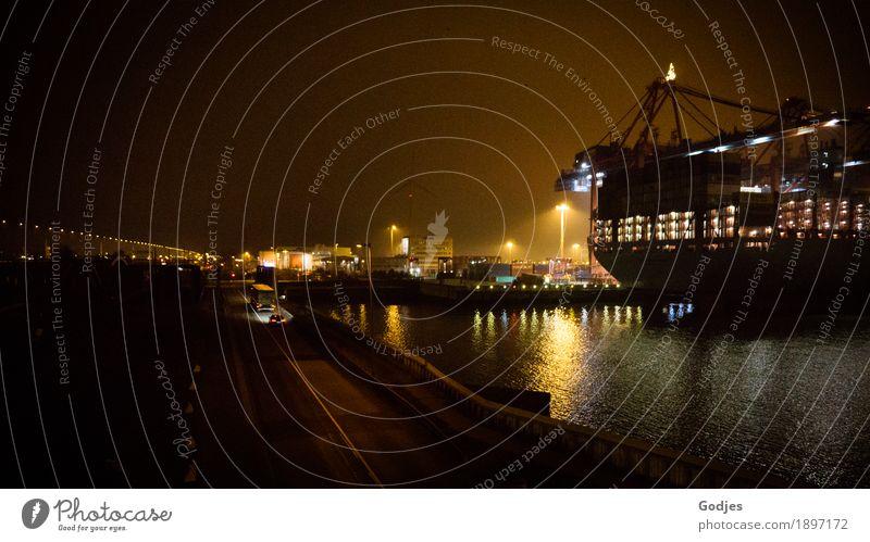 Weihnachtslieferung Ferien & Urlaub & Reisen blau gelb orange Kraft authentisch Industrie Hamburg Güterverkehr & Logistik Unendlichkeit fahren Hafen Hauptstadt