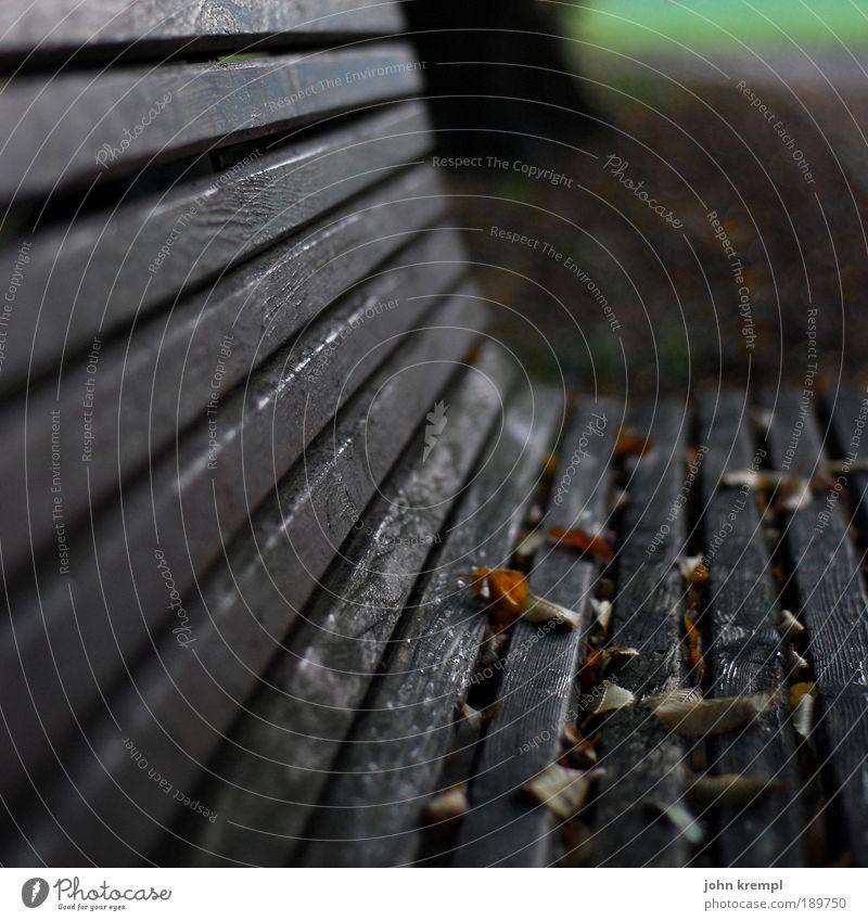 ausgesessen alt grün Blatt schwarz Einsamkeit Herbst Tod Holz Traurigkeit Park braun Hoffnung Trauer trist Bank kaputt