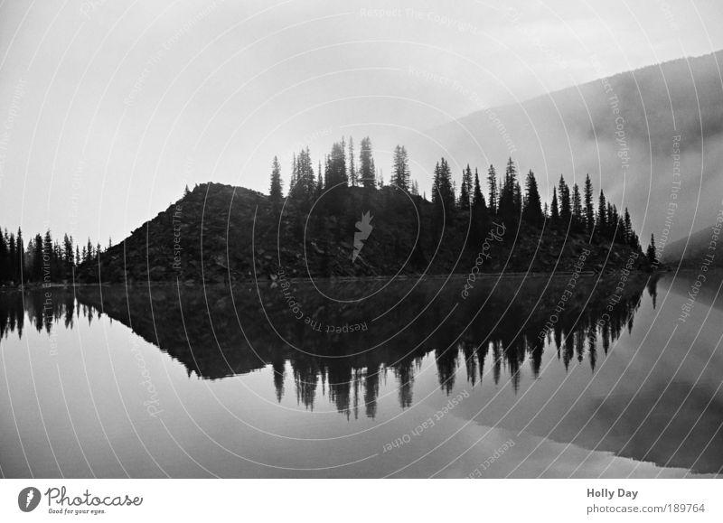Nebelspiegel Ferien & Urlaub & Reisen Tourismus Ferne Insel Berge u. Gebirge Natur Landschaft Wasser Sonnenaufgang Sonnenuntergang Herbst Baum Seeufer
