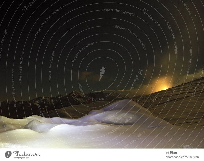 from dusk till dawn Himmel Natur Wasser Winter Wolken ruhig Landschaft Schnee Berge u. Gebirge Horizont Eis Stern ästhetisch Frost Idylle Hügel