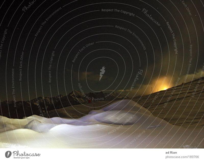 from dusk till dawn Skier Skipiste Natur Landschaft Wasser Himmel Wolken Nachthimmel Stern Horizont Mond Vollmond Winter Eis Frost Schnee Nordlicht Hügel Alpen
