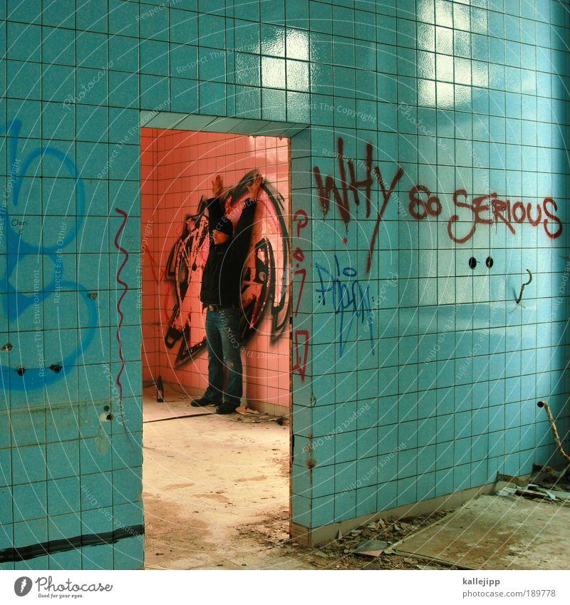unsicher Mensch maskulin Mann Erwachsene 1 Kunst Kultur Jugendkultur Subkultur Haus Mauer Wand Zeichen Graffiti Kommunizieren Angst Entsetzen Todesangst