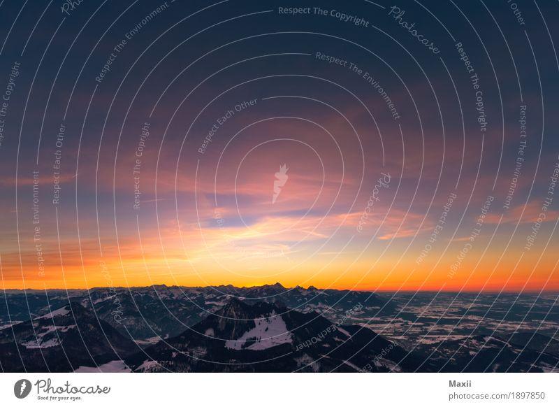 Sonnenuntergang mit Heubergblick Umwelt Natur Landschaft Urelemente Himmel Wolken Nachthimmel Horizont Sonnenaufgang Sonnenlicht Winter Schönes Wetter Schnee