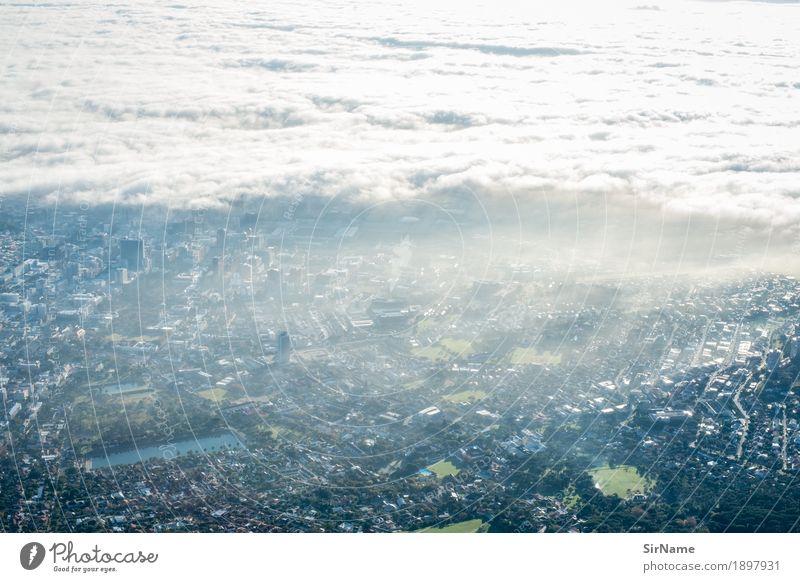 410 [cloud city scape] Stadt Wolken Haus Wärme Architektur Umwelt Gebäude oben Perspektive Zukunft hoch Energie bedrohlich Wandel & Veränderung
